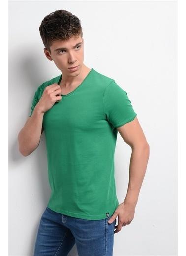 Rodi Jeans Erkek T-Shirt Fırçalı Süprem V Yaka RD19YE279974 Yeşil